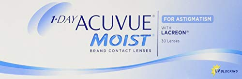 Acuvue 1-Day Acuvue Moist For Astigmatism Tageslinsen weich, 30 Stück/ BC 8.5 mm / DIA 14.5 mm/ CYL -1.25 / ACHSE 130 / -0.5 Dioptrien