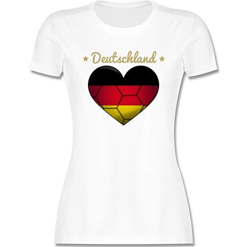 Handball - Handballherz Deutschland - XXL - Weiß - Geschenk - L191 - Tailliertes Tshirt für Damen und Frauen T-Shirt