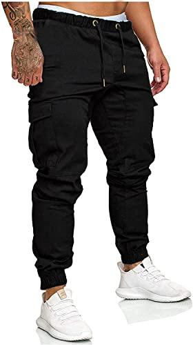 Socluer Hombre Pantalones de Carga Deportiva de Talla Grande Pantalones Largo con Bolsillos Pantalones Cinturón de Cintura elástico Casuales Pantalones