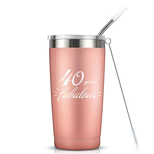 40 Years Fabulous - 40th Birthday Gifts For Women - 20 Oz Vaccuum Insulated Stainless Steel Mug Tumbler with Lid, Funny Turning 40 Gift Idea for Women Her Mom Wife Sister Bestie Friend Ladies Gift