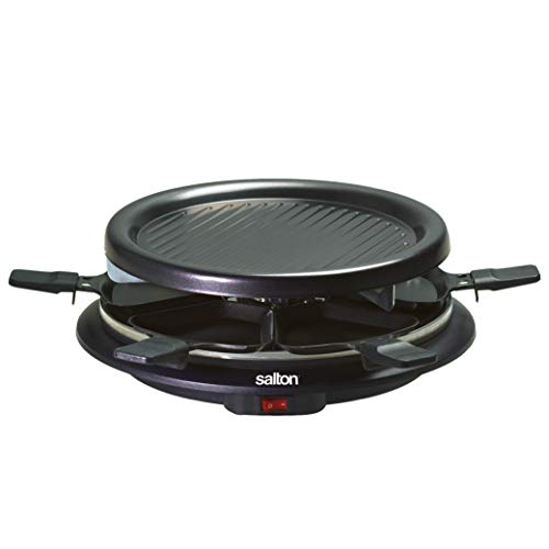 Party Grill & Raclette by Salton | 6-Person Smokeless Indoor Grill | Non-Stick Grill Plate