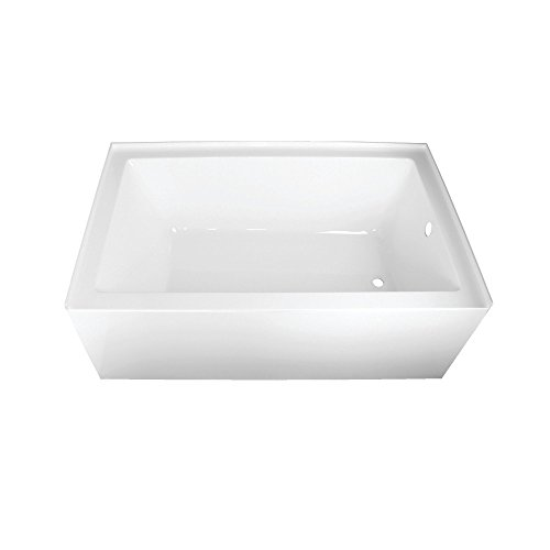 Kingston Brass VTAP603622R Aqua Eden 60-Inch Acrylic Alcove Tub with Right Hand Drain Hole, 60 inch (L) x 36 inch (W) x 21-5/8 (D), White