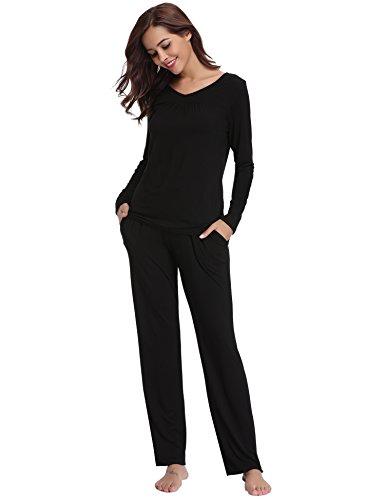 Aibrou Pijamas Mujer Algodon 2 Piezas Conjuntos Sexy e Elegante Manga Pantalon Largos,Suave Comodo y Agradable (XL, Negro#01)