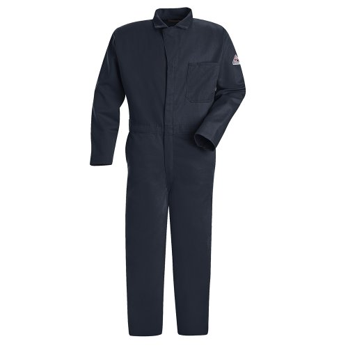 Bulwark Men's Tall Size Flame Resistant 9 oz Twill Cotton Classic Coverall with Hemmed Sleeves, Navy, 46 Long