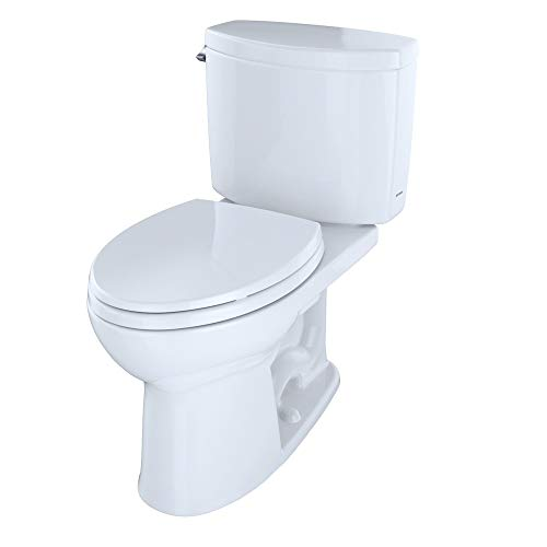 TOTO CST454CEFRG#01 Drake II Two-Piece Elongated 1.28 GPF Universal Height Toilet with CEFIONTECTand Right-Hand Trip Lever, Cotton White