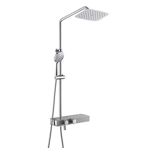 DJY-JY Set de ducha de 3 funciones de la ducha termostática de latón cromado Sistema Y Ducha de acero inoxidable Set Con Lluvia Masaje cabezal de ducha 1,5 M ducha manguera mano del ABS, aerosol termo