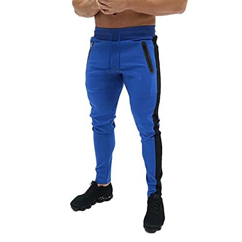 Corumly Pantalones de Jogging para Hombre, Moda, Personalidad, Color, Rayas a Juego, Deportes, Ocio, Pantalones Ajustados para Fitness, cómodos Pantalones Deportivos elásticos L