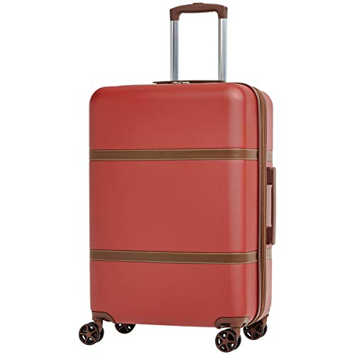 AmazonBasics Vienna Expandable Luggage Spinner Suitcase - 26.7 Inch, Red