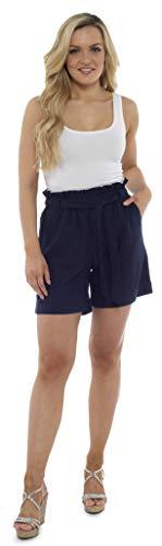 CityComfort Pantalones Cortos Paperbag para Mujeres, Traje De Verano | Pantalones De Tiro Alto De Cintura Alta con Pliegues Y Bolsillos | Tallas De La 38 A La 52