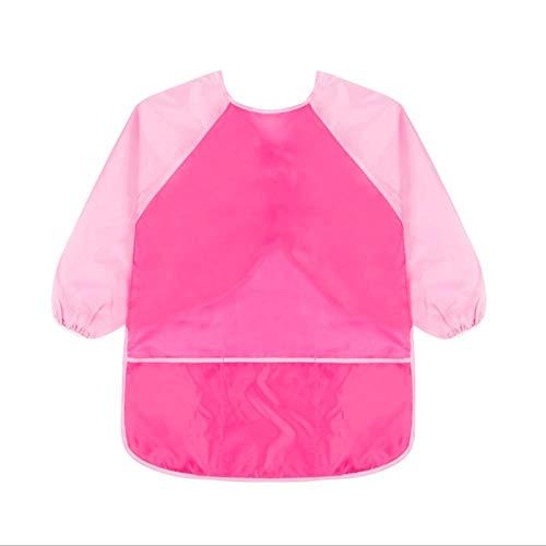 Delantales para niños y niños, impermeables, para pintura, para pintar, hornear, cocinar, smock (rosa rojo + mangas rosas, L)