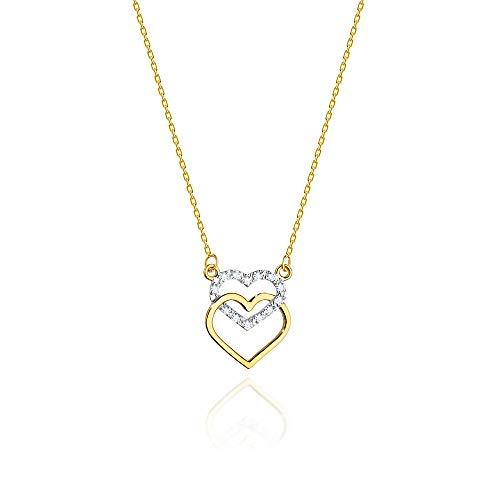Collar de diamantes o cadena de oro para mujer Zlocisto Muestra585 , con diamantes talla brillante 0,05ct H/Si