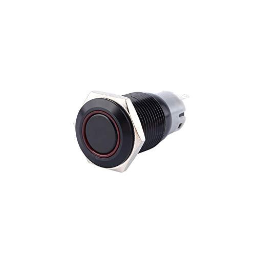 aqxreight - Interruptor de empuje LED, 12V 3A 16mm Interruptor de botón de coche impermeable Interruptor de botón LED Bloqueo de botón de encendido/apagado