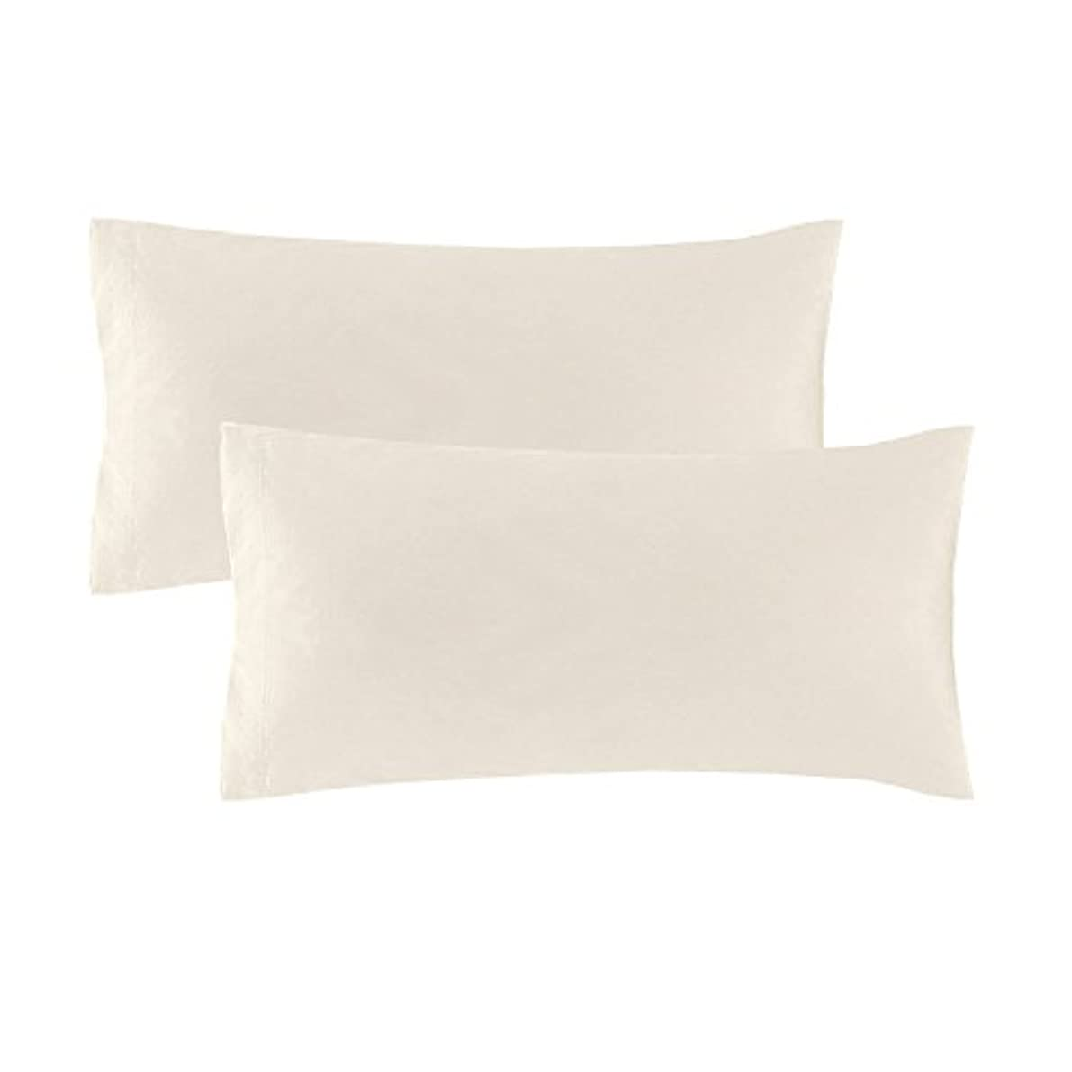 Echelon Home Vintage Standard Washed Cotton Percale Cases [Pair] Natural,