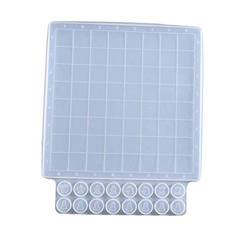 N/A/a Piezas de ajedrez Molde de Silicona Tablero de ajedrez Checker Resina Molde Conjunto para Manualidades de Arte DIY fabricación de Joyas Adorno de Mesa