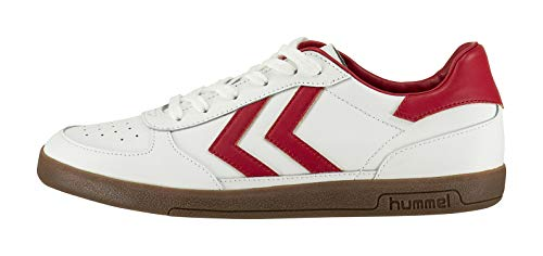hummel Victory Leather, Zapatillas para Hombre, Blanco (weiß/Rot/Braun weiß/Rot/Braun), 41 EU