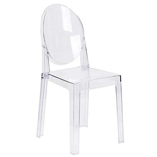 FTW Silla Lateral Simple Moderna Sillas de Comedor de Cristal Transparente Silla de tocador de plástico con Respaldo Ovalado para Banquete de Boda (Color : 1 Chair)