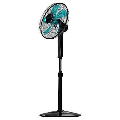Cecotec Ventilador de Pie EnergySilence 530 Power Connected Black. 50 W, 5 Aspas de 40 cm de Diámetro, 3 Velocidades, Motor de Cobre, Oscilante, Mando a Distancia, Temporizador de 2h, Negro