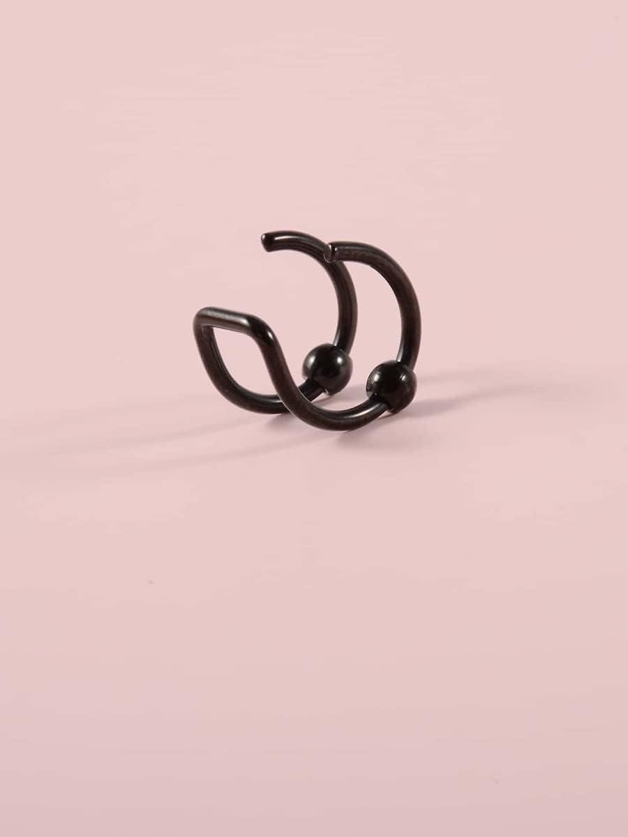 Sensecrol Hoop Earrings Black Ear Cuff (Color : Black, Size : OneSize)