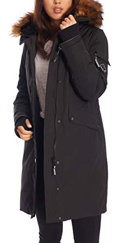 Alpine North Women's Vegan Down Long Parka Winter Jacket, Black, Medium