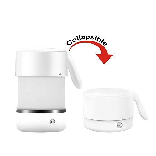 Bouilloire électrique rapide Pliable for Voyage, Chaudière électrique 500ML silicone Chauffe-eau thé chaud, double tension Pliable Bouilloire en acier inoxydable avec le fond