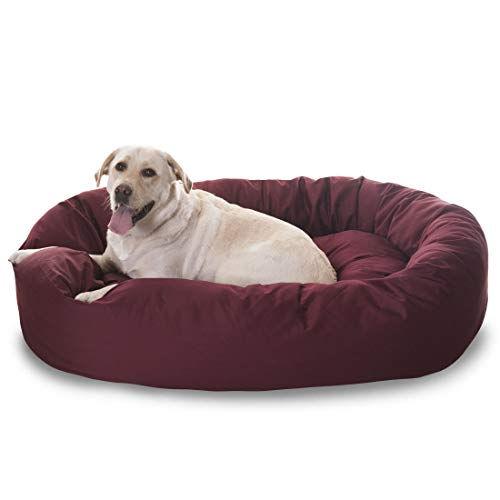 Majestic Pet Poly-Cotton Bagel Dog Bed for Dogs