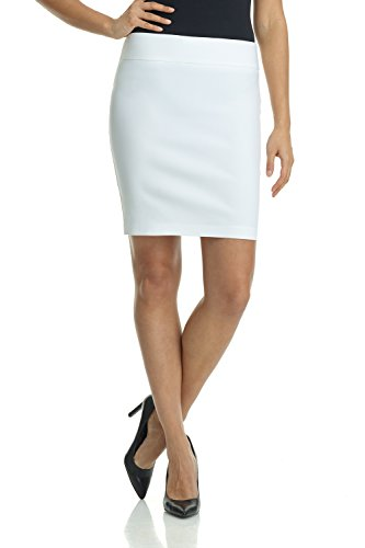 Rekucci Women's Ease Into Comfort Above The Knee Stretch Pencil Skirt 19 inch (Medium,White)