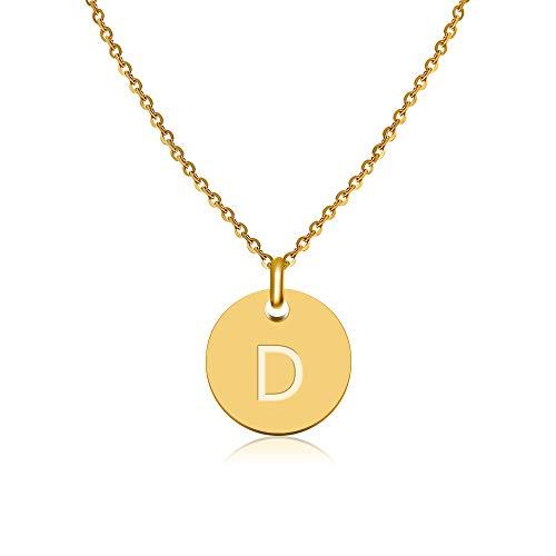 Good.Designs ® Damen Goldkette mit rundem Buchstabenhänger (40 + 5cm) Initialschmuck für Frauen (Buchstabe D)