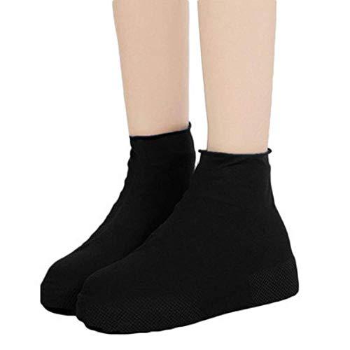 LWL Rain Snow Boot Fundas para Zapatos Calcetines Impermeables para Lluvia Zapatos de Goma de Silicona Reutilizables Cubrezapatos para Hombres Mujeres Niños Protectores Al Aire Libre, Negro Corto, M