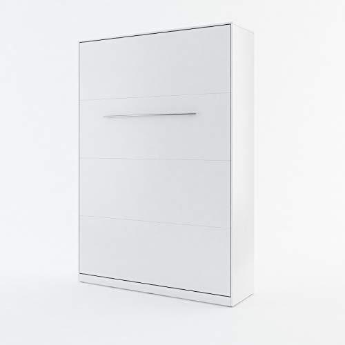 ESF - Lit escamotable mural 140x200cm + 1 Colonne de rangement Blanc Mat - CO01-CO07-1935
