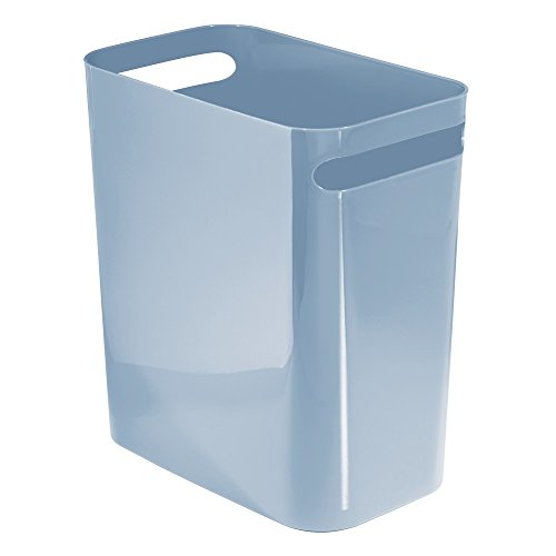 Price comparison product image iDesign Una Rubbish Bin with Handles,  Plastic Wastepaper Bin for Office,  Kitchen or Bedroom,  Slate Blue