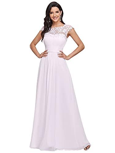 Ever-Pretty Vestido de Novia Encaje Largo para Mujer A-línea Gasa Escote Redondo...