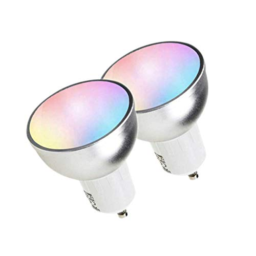 Fransande - 2 bombillas LED GU10 WiFi Smart LED RGBW 5 W bombillas Tuya/Smart Life APP controlada regulable, funciona con Alexa/Home e IFTT