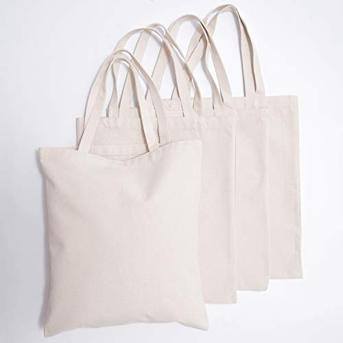 Natural Canvas Tote Bags - 4 pcs Reusable 24oz Shopping Bag DIY pattern for Crafting and Decorating Sturdy Washable Grocery Tote Bag (Beige)