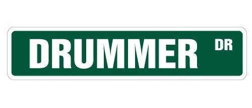 "DRUMMER Street Sign drum sticks cymbal music band | Indoor/Outdoor | 30"" Wide Plastic Sign"
