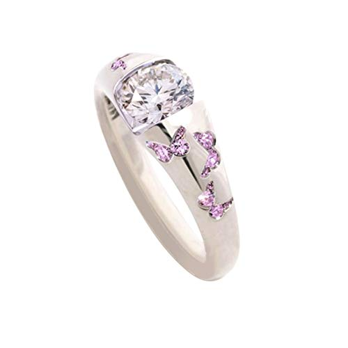 zhushuGG Exquisite Inlaid Mixed Sweet Ring Inlaid Zircon Ring with Lovely Personality Simulated Butterflies Tiny Couple Engagement Wedding Accessories Gift