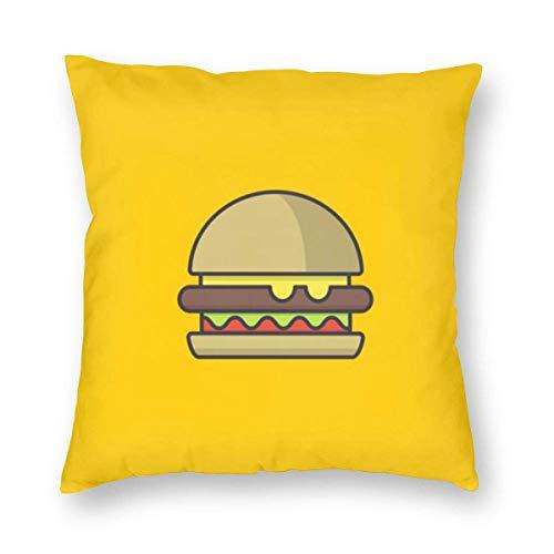 N\A Funda de Almohada Minimalista de Hamburguesa Funda de cojín Cuadrada Funda de Almohada de Tela para sofá Cama para el hogar