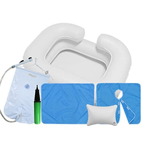 Lavatesta Gonfiabile Lavabiancheria Portatile per Disabili Allettati Donne Incinte Ferite Cari E Anziani Kit Ciotola Shampoo Lato Letto
