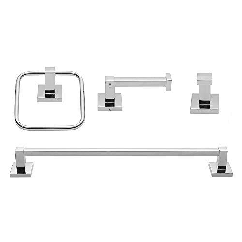 Globe Electric Finn 4-Piece Bathroom Hardware Accessory Kit, Polished Chrome, Bar, Towel Ring, Robe Hook, Toilet Paper Holder 51368