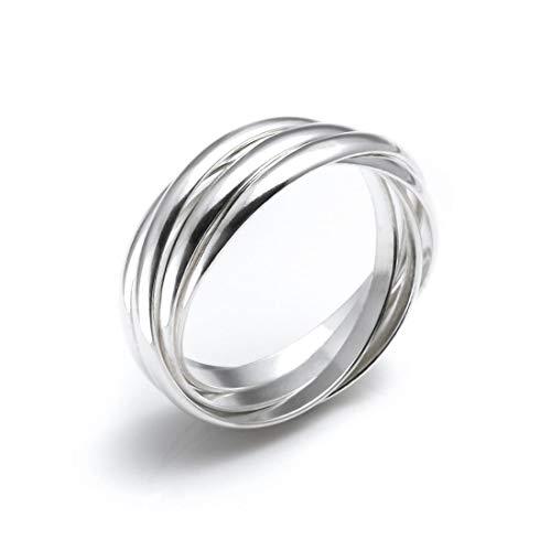 Silverly Anello Argento .925 5 Anelli Stile Matrimonio Russo