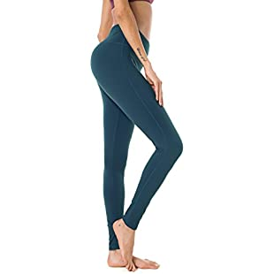 Queenie Ke Women High Waist Drawstring Phone Back Pockets Sport Legging Yoga Pants Running Tights Size XL Color Teal