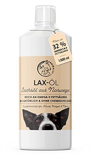 Annimally Lachsöl für Hunde 1 Liter reich an Omega 3 & 6 Fettsäuren (mehr als 32%) - Barf Fischöl für Hund, Katze und Pferd geeignet I Reines Naturprodukt...