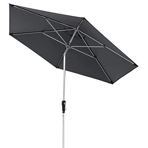Doppler Aluminium Sonnenschirm SL-AZ 275, Knickbarer Sonnenschutz für Balkon oder Terrasse, Regenabweisend, Anthrazit, 275 cm