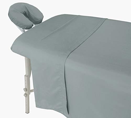 London Linens Microfiber 3 Piece Massage Table Sheets Set (Stone)