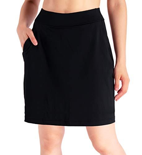 "Yogipace Women's 4 Pockets UV Protection 17"" Long Tennis Running Skirt Athletic Golf Skort Anytime Casual Skort Black Size L"