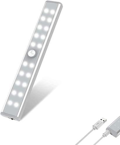 OxyLED Luce Sensore di Movimento,20 LED Sensore di Luce USB Ricaricabile,Luce Notturna Armadio a LED con Striscia Magnetica, Auto On/Off per Mobile,Scale,Specchietto per il Trucco,1 Pezzi,T02U