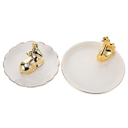 BESPORTBLE Schmucktablett Keramik Tablett Golden Hirsch Schwan Weiß Schmuckschale Schmuck Ohrring Ringe Teller Desktop Ornament Schminktische Aufbewahrung 2 Stück
