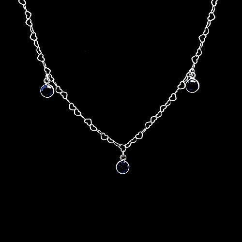 Herz Kette Halskette 3,2 mm mit Anhänger London Blautopas 925 Sterling Silber Damen Halskette
