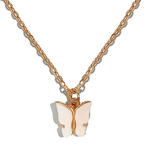 collar Joyas Moda Color Acrílico Pendientes de mariposa Personalidad Pendientes de mariposa Collar femenino Blanco