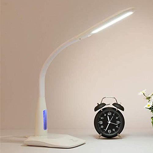 LED Augenschutz Tischlampe, Student Lernen Anti-Myopie Kein Blitz Blu-Ray Lampe Elektronischer Wecker, Temperaturanzeige Dimmen Snooze Uhren,Rosa,White
