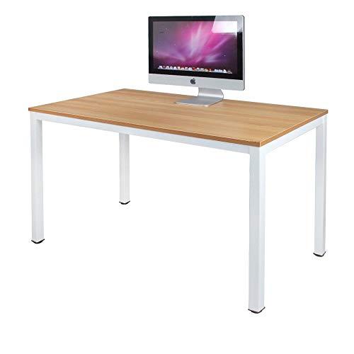 sogesfurniture Scrivanie 120x60cm Tavolo per Computer Ufficio Postazioni di Lavoro Scrivania PC Tavolo da Pranzo Moderno in Acciaio Legno, Teak & Bianco AC3TW-120-SF